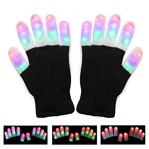 Ausein LED Gloves, Light up Gloves Glow Rave Gloves Fingertip Lights Flashing Colorful Gloves Light-up Toys for Kids Adult Girls Boys Halloween Christmas Xmas Gift Party Club Light Show