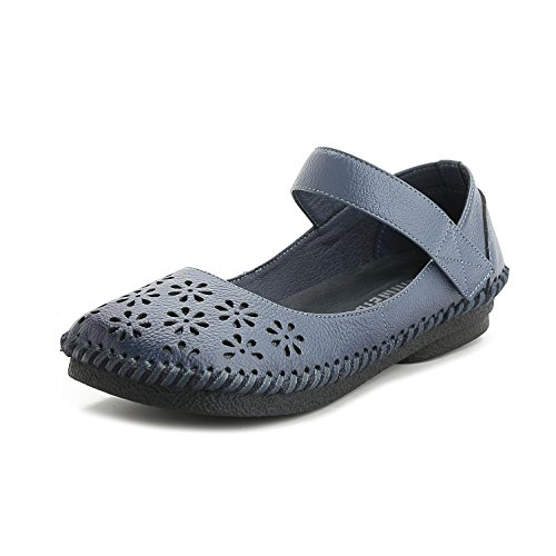 GL@YC® Women Spring and Summer Sandals Shallow Mouth Hollow Flat Shoes Leather Soft Bottom Pump Satin Wedding Ball Shoes , blue , 37
