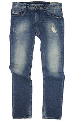 Diesel Distressed Jeans (Diesel Thavar Distressed Skinny Fit Jeans (33x32, Light Blue))