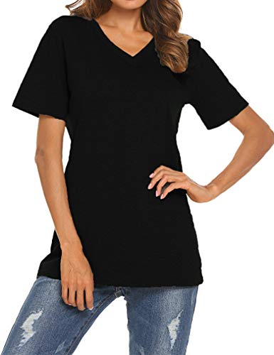 Qearal Women's Summer Short Sleeve V-Neck Loose Casual Tee T-Shirt Tops (Coffee, L) (03 Black, S)