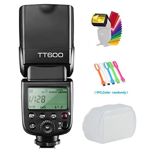 Godox TT600 Camera Flash Speedlite with Built-in 2.4G Wireless Transmission Compatible for Canon,Nikon,Pentax,Olympus and other Digital Cameras with Standard Hotshoe& Diffuser& CONXTRUE USB LED