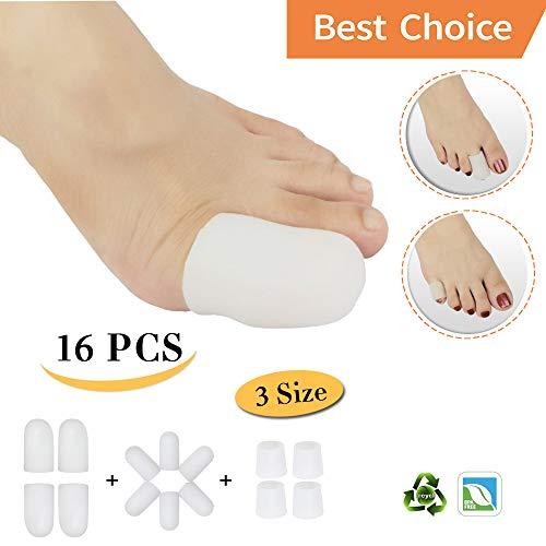 (Gel Toe Cap,Silicone Toe Protector,Toe Guard,Toe Sleeves *Waterproof*(16PCS) Toe Cover Great for Blisters,Hammer Toes,Calluses,Missing or Ingrown Toenails. ¡)