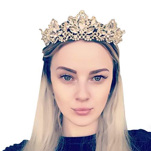 Gold Crown Princess Tiara Headband, Vintage Baroque Diadem Crown For Women + 2 FREE Hair Pins