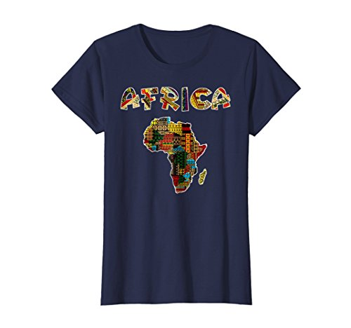 Womens African pride traditional ethnic pattern Africa map t-shirt Medium Navy (T-shirt Map Africa)