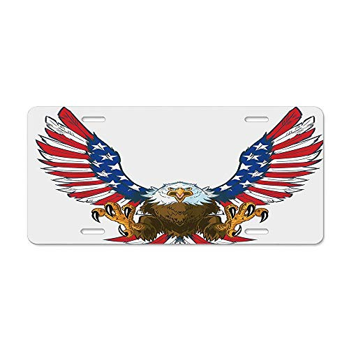 AUdddflsicenshf Mean Screaming Bald Eagle Flying Toward American Flag as Spread and Talons Out Wings Design Car Licence Plate Covers Holders with Chrome Screw Caps for US Vehicles (Skull Screaming Matte)