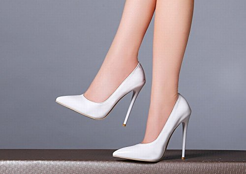 MissSaSa Damen elegant high heel Pointed Toe Pumps mit Stiletto Weiß(Lackleder)