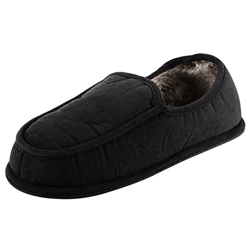 Mens Cord Full Slippers Soft Faux Fur Lining & Non-Slip Sole - Black, UK 9