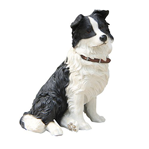 Collie Figurine Dog (Border Collie Statue,Sitting Resin Dog Figurine)