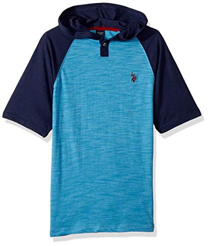 (U.S. Polo Assn. Big Boys' Hooded Short Sleeve T-Shirt, Popover Henley Cool Mountain, 8)