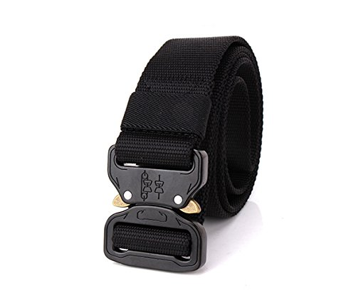 Rumfo Tactical Belt, Adjustable Military Style Webbing Riggers Web Belt 1.5'' with Heavy-Duty Quick-Release Metal Buckle (Black)