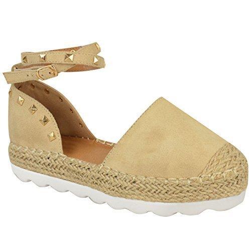 Mujer Alpargatas Tobillo Sandalias de Tiras Rock Tachuela Zapatos Verano Números DESNUDO Ante Imitación / color dorado Pernos