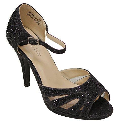 Peep Toe Rhinestone (Bella Marie Shania-26 Women's peep Toe Rhinestone Glitter Strappy mesh Dance Sandals Black 8.5)