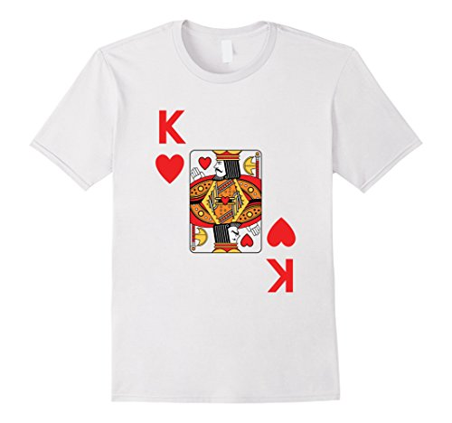 Mens King of Hearts poker playing card halloween costume shirt Large White (Vegas Halloween Costume Contest)