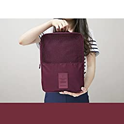 Simmer Stone Portable Waterproof Travel Shoe Tote Bag/case/organizer,hold 3 Pairs of Shoes,perfect for Travel/ Business Trip/ourdoor Sport (Wine Red 02)