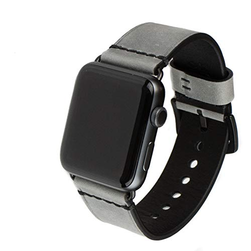 Grit & Grazia Premium Leather Band for Apple Watch 42mm or 44mm, Stylish Replacement Apple Watch Nubuck Leather Bands for iWatch Series 4 3 2 1 with Stainless Steel Buckle (Gray)