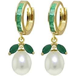 14k Solid Gold Hoop Earring With Pearls and Emeralds