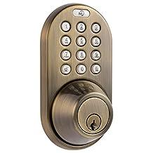 MiLocks DF-02AQ Electronic Keyless Entry Touchpad Deadbolt Door Lock, Antique Brass