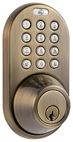 - MiLocks DF-02AQ Electronic Keyless Entry Touchpad Deadbolt Door Lock, Antique Brass