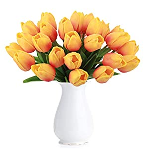 BOMAROLAN Artificial Tulip Fake Holland Mini Tulip Real Touch Flowers 24 Pcs for Wedding Decor DIY Home Party (Sunset…
