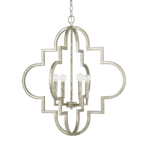 251 First Whittier Antique Silver Four-Light Pendant (Lantern Whittier Pendant)