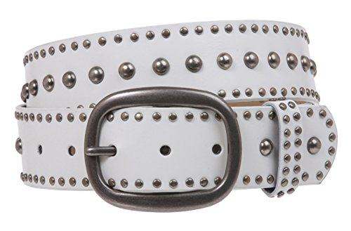 (Ladies Oval Buckle Metal Circle Studded Leather Belt, White | S/M - 32)
