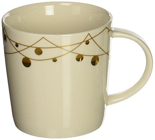 (Starbucks White Bone China 14 Oz Gold Ornament Garland Mug in Starbucks Holiday Gift Box)
