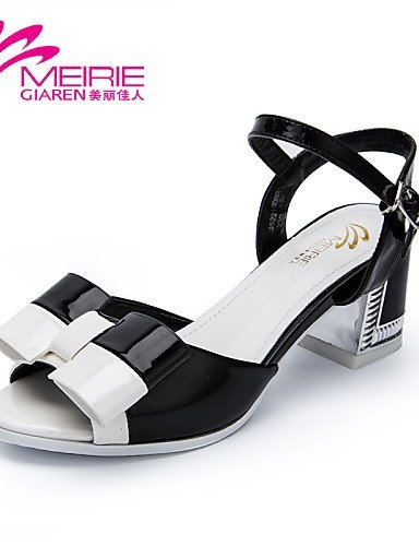 ShangYi MeiRieS Womens Shoes Faux Leather/Leatherette Chunky Heel Heels/Open Toe Sandals Black
