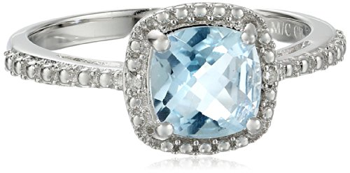 Sterling Silver Cushion Blue Topaz and Diamond Accent Ring, Size - Diamond Blue Ring Accent