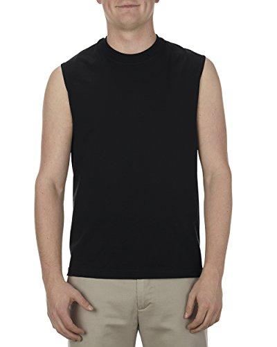 Screen Print Sleeveless Jersey (Alstyle Apparel AAA Men's Classic Sleeveless Muscle T-Shirt, Black, Large)