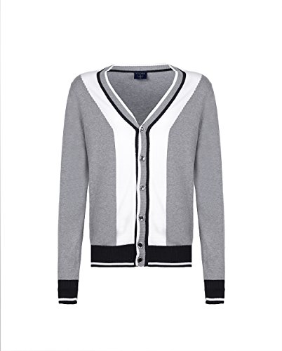 STORK Men's Color Block Cotton Cardigan V-neck Button Down Fine Knit Sweater