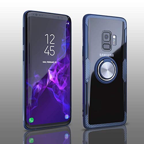 (Samsung Galaxy S9 Case, Transparent Crystal Clear Cover with Slim Silicone Rubber Bumper Frame and 360° Rotating Magnetic Finger Ring & Kickstand Compatible with Samsung Galaxy S9 - Blue)