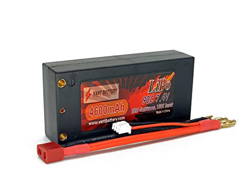 7.4V 4600mAh 2S Cell 90C-180C Shorty Roar Approved HardCase LiPo Battery Pack w/ 4mm Bullet Plugs & Deans Ultra Connector + Warranty