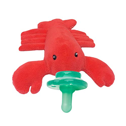 Nookums Paci-Plushies Buddies Pacifier Holder - Plush Toy Includes Detachable Pacifier, Use with Multiple Brand Name Pacifiers (Lobster) -