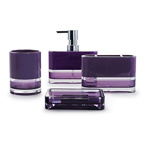 IMMANUEL Float Designer 4-Piece, Translucent Modern Purple Bathroom Accessory Ensemble Set (Tumbler, Toothbrush Holder, Lotion Dispenser and Soap Dish Included), Durable MS Acrylic Bath - Bath Complete Sets