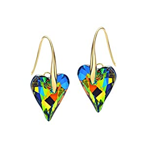Neoglory Jewelry 14k Gold Plated Bermuda Green Crystal Drop Pierced Earrings embellished with Crystals from Swarovski