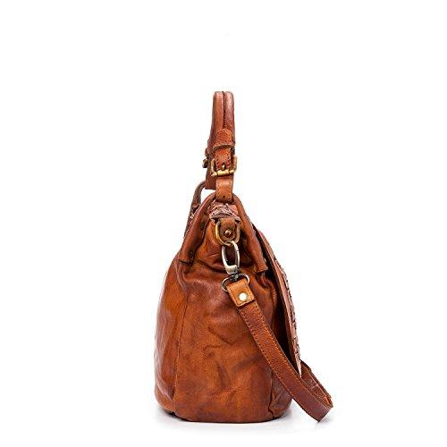 Ira del Valle, Borsa Donna, In Vera Pelle Intrecciata Vintage, Made in Italy, Modello West Coast Bag, Borsa Grande a Mano e Spalla con Tracolla da Donna Ragazza Cognac
