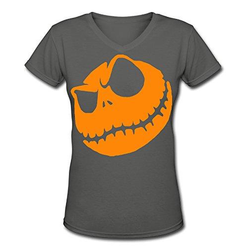 Zhen Lady Halloween Pumpkin King Logo V-Neck T-Shirt M DeepHeather