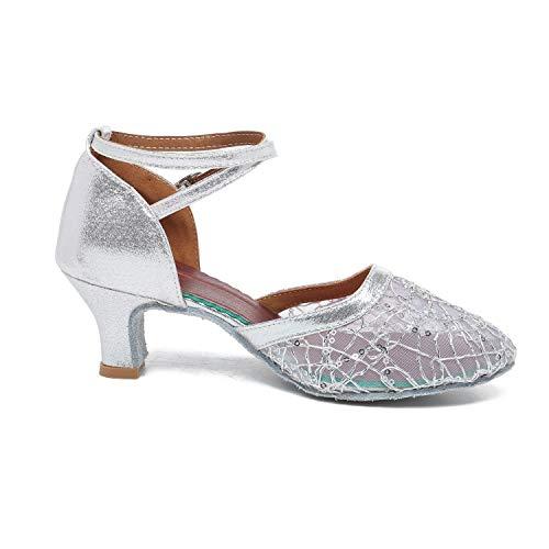 BOJIN Womens Ballroom Dance Shoes Latin Salsa Performance Rhinestone Satin Sandals Flared Heel Dance Tango Shoes