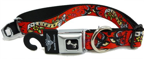 Tattoo Lucky Dog Seat Belt Buckle Style Dog Collar Red 1″ 9-15″, My Pet Supplies