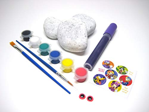 Meritte Designs Rockz Rock Painting for Kids | Complete Rock Painting Kit | Arts and Crafts for Kids | Includes 8 White River Rocks | Acrylic Paint | Brushes | - Rock Designs River