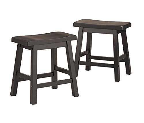 ModHaus Living Set of 2 Charcoal Black Country Style Saddle Back Solid Wood Stool - Chair Height - Includes (TM) Pen