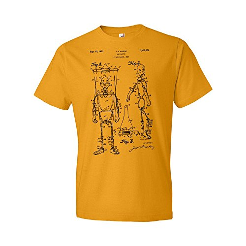 Puppet Marionette Art (Marionette T-Shirt, Puppet, Gift, Patent, Vintage, Art, Mens, Print Gold (Large))