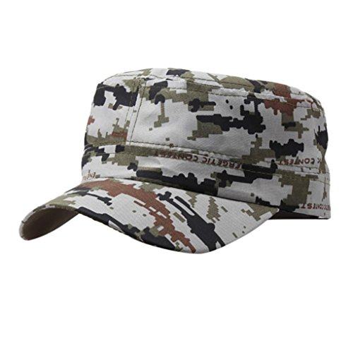 General3 Outdoor Camo Tactical Plain Vintage Army Military Cadet Style Cap Hat Adjustable (C)