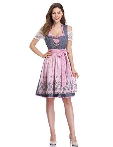 (GloryStar Women's German Dirndl Dress Costumes for Bavarian Oktoberfest Carnival Halloween Gray Pink)