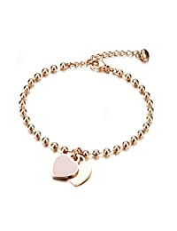 Coco Park Women Jewelry Stainless Steel Rose Gold Double Love Heart Charm Pendant Adjustable Ball Link Chain Bracelet 6 4/8 inch