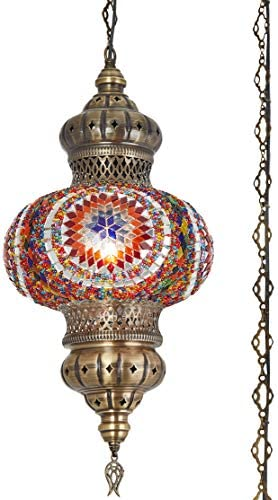 8 Colors DEMMEX – Wall PlugIn XL Light – Turkish Moroccan Mosaic PLUGIN Ceiling Hanging Tiffany Pendant Light Fixture Lamp with 15 feet Chain Cord US Plug – NO HARDWIRING Space Fire