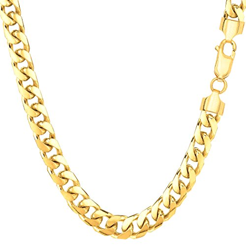 14k Yellow Gold Miami Cuban Link Chain Necklace - Width 5.8mm, 30