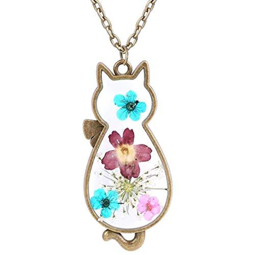 CliPons Pressed Flower Pendant Vintage Alloy Cute Cat Necklace Girls Women Gifits
