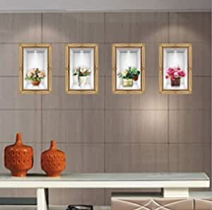 3D Emulation vase decor wall stickers living room TV background wall decal