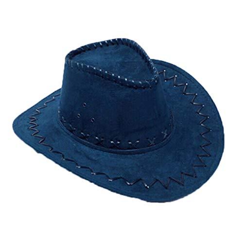 (Wide Brim Western Cowboy Cowgirl Hat Vintage Faux Suede Outback Cap Cattleman Hat Dark)
